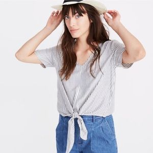 Madewell front tie striped top